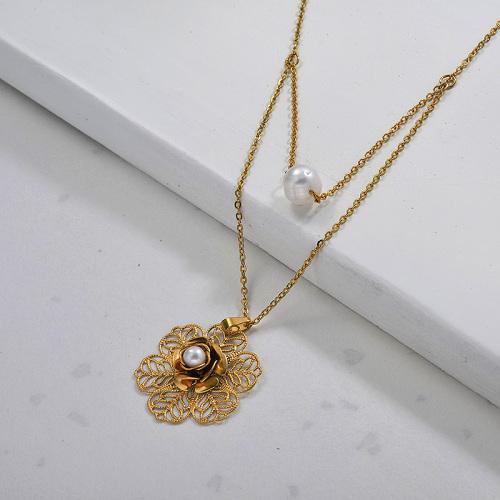 Collar de doble capa de perlas de flores de acero inoxidable para mujer