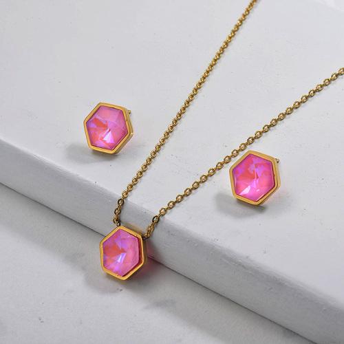 Conjuntos de joyas de cristal de acero inoxidable