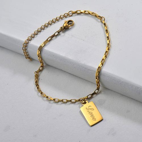 Vente en gros Bracelet Amour Simple en Plaqué Or