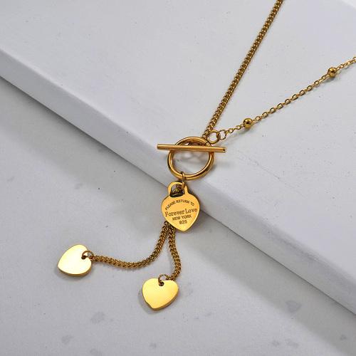 Collier cœur à pampilles plaqué or Ins