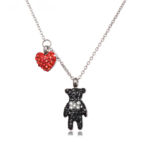 Black animal with diamond silver necklace