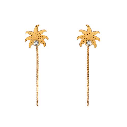 Boucles d'oreilles pendantes en acier inoxydable de conception de personnalité de bijoux plaqué or de noix de coco