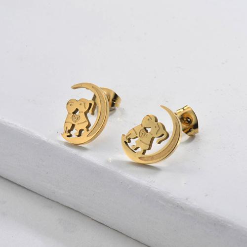 Joyas chapadas en oro Pendientes de amante de acero inoxidable Estilo lindo