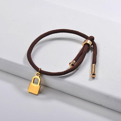 Bijoux fantaisie Bracelet de chaîne de charme de serrure plaqué or