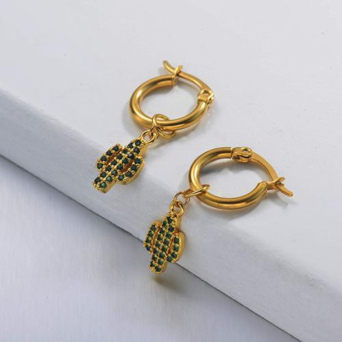 Boucles d'oreilles de cactus en acier inoxydable de conception faite à la main de bijoux plaqués or