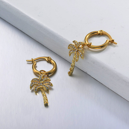 Boucles d'oreilles en acier inoxydable de noix de coco en acier inoxydable de conception de bijoux plaqués or
