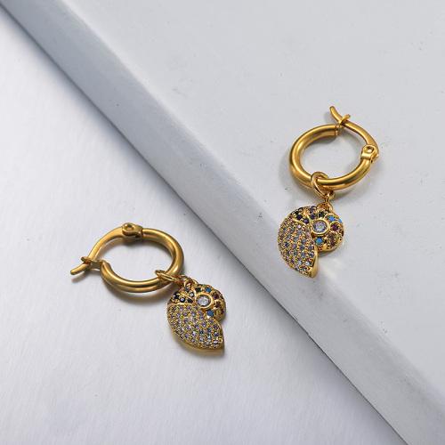 مجوهرات مطلية بالذهب تصميم يدوي أقراط من الفولاذ المقاوم للصدأ