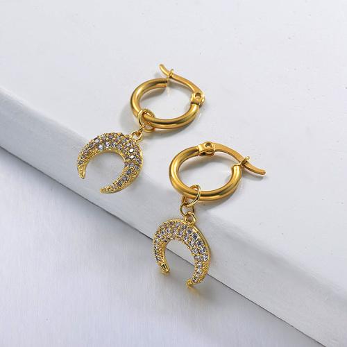 Boucles d'oreilles de lune en acier inoxydable de conception faite à la main de bijoux plaqués or