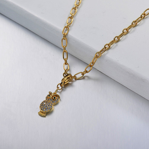 Little Star Diamond Owl statement necklaces
