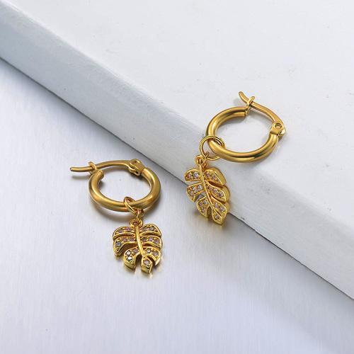 مجوهرات مطلية بالذهب تصميم يدوي أقراط مصنوعة من الفولاذ المقاوم للصدأ