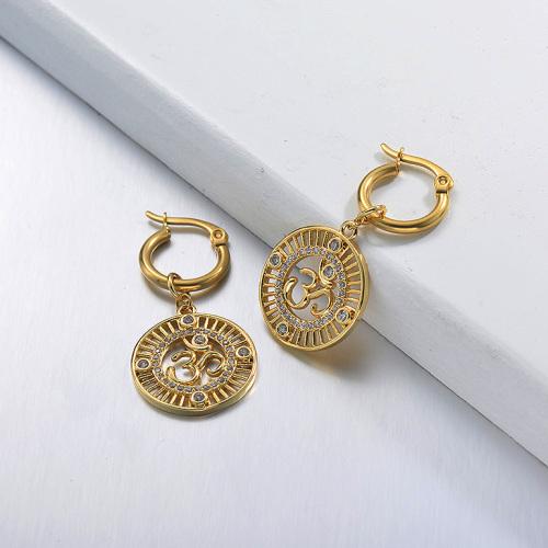 Joyas chapadas en oro Diseño hecho a mano Pendientes de estilo francés de acero inoxidable