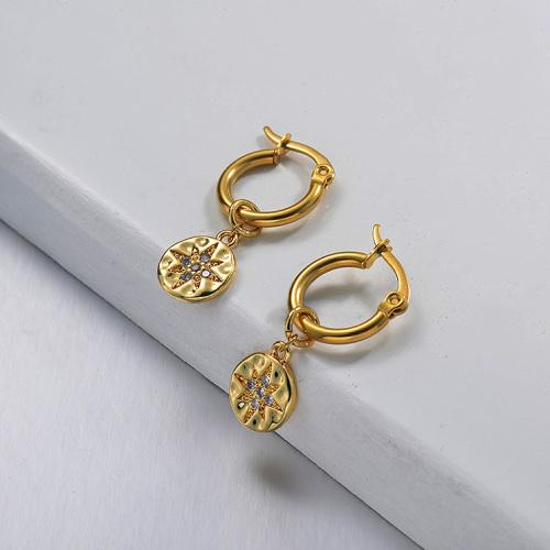 Pendientes de estrella de acero inoxidable con diseño hecho a mano de joyería chapada en oro
