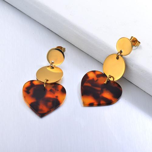 Joyas chapadas en oro Pendientes de acetato de tortuga de acero inoxidable