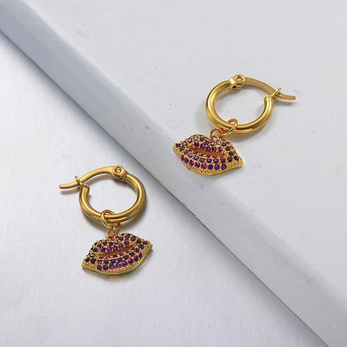 Boucles d'oreilles en acier inoxydable de conception faite à la main de bijoux plaqués or