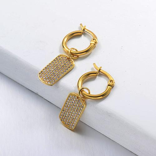 Boucles d'oreilles en diamant cassé en acier inoxydable de conception faite à la main de bijoux plaqués or