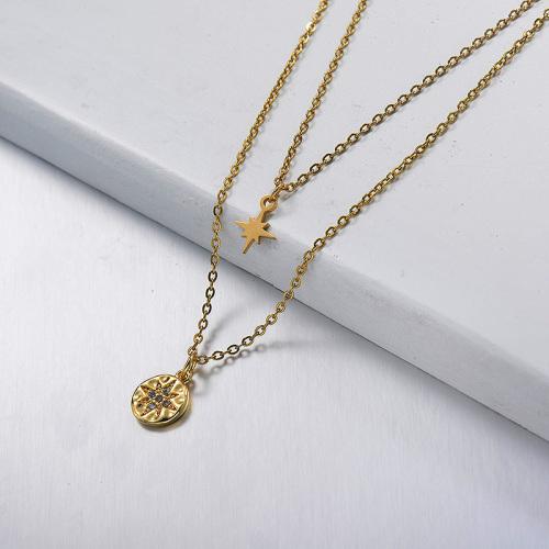 gold Little Star Diamond Duō céng xiàngliàn  Multilayer necklace