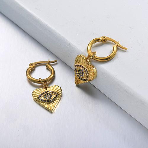 مطلية بالذهب والمجوهرات المصنوعة يدويا تصميم الفولاذ المقاوم للصدأ أقراط القلب عيون الشر