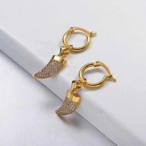 Pendientes de acero inoxidable de diseño hecho a mano de joyería chapada en oro