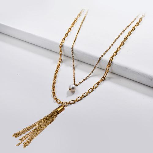 Colgante de perlas de agua dulce de moda con collar de capa de borla de metal