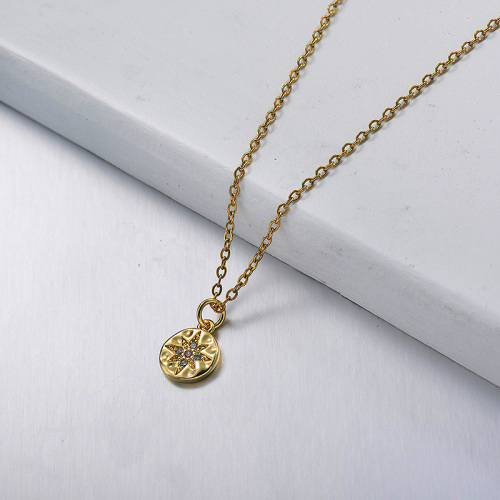 gold  Round pendant long necklace