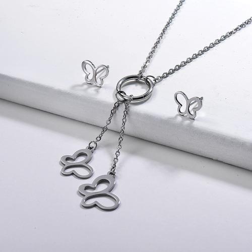Conjunto de pendientes de collar de mariposa hueca de plata de acero inoxidable