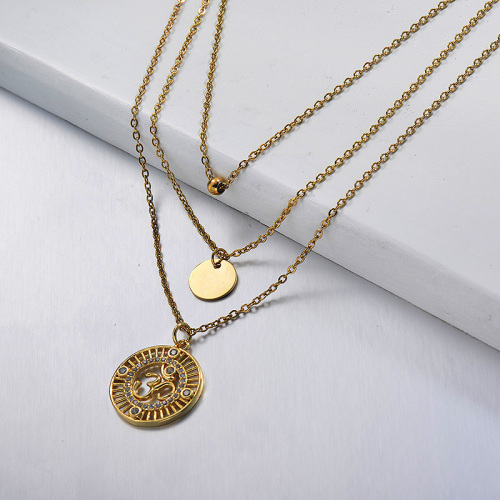 Small star diamond round pendant gold layered necklace
