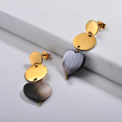 Joyas chapadas en oro Diseño hecho a mano Pendientes de corazón y obleas de acero inoxidable