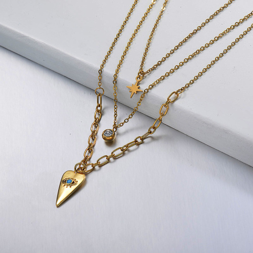 Gold Blue Small Eye Multilayer Necklace