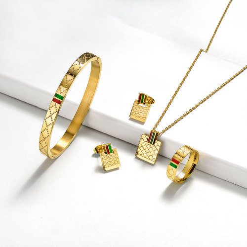 Fashion Stainless Steel Gold Famous Brand Heart Jewelry Sets