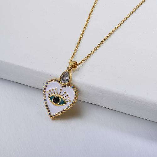 Fancy diamond white heart-shaped gold necklace fashion