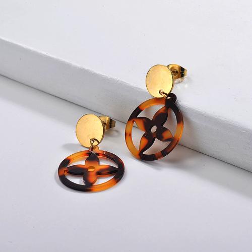 أقراط أسيتات من الفولاذ المقاوم للصدأ مجوهرات مطلية بالذهب