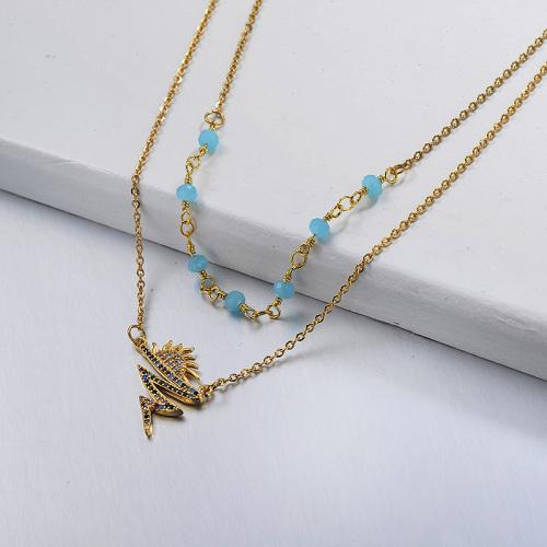 Collar de capas de oro estilo Little Sun de moda