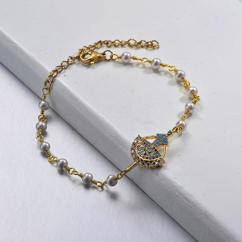 Dance Girl Pendant Pearl Chain Bracelet Gold Plated Bracelet