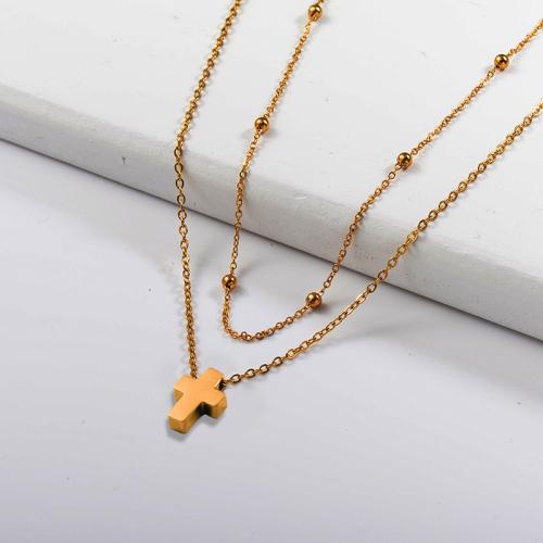 Collar de capas de oro estilo cruz pequeña de moda