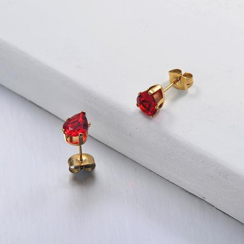 Joyas chapadas en oro Pendientes de botón de rubí de acero inoxidable