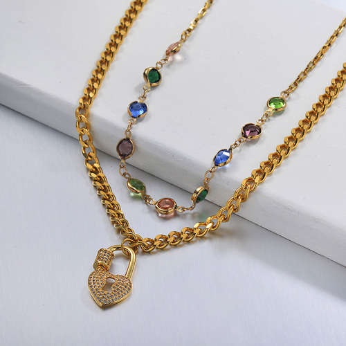 Fancy Diamond Lock Layered Gold Necklace