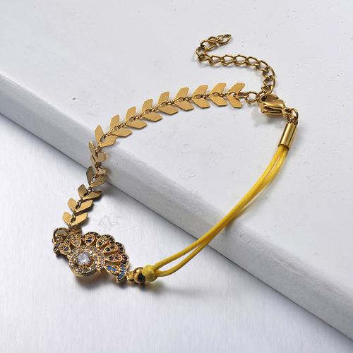 Diamond Sector Pendant  Fishbone Link Chain Yellow Leather String Bracelet