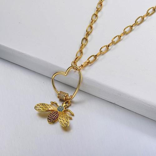نمط أزياء قلادة نحلة ذهبية اللون