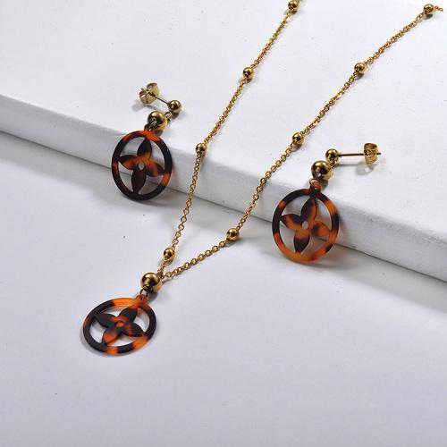 Conjuntos de pendientes de collar de flor de leopardo chapado en oro de acero inoxidable