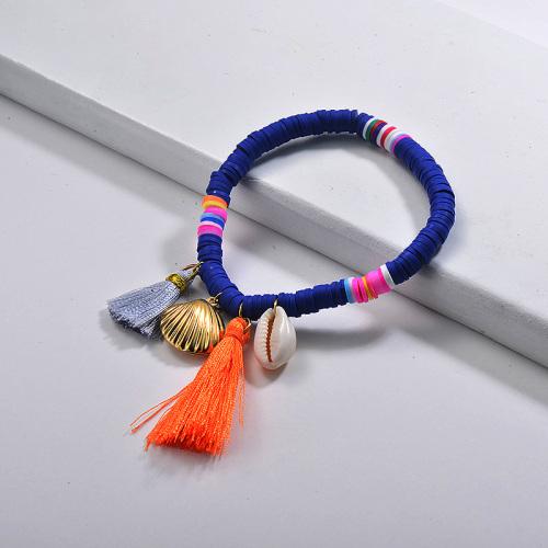 Bracelets en caoutchouc Nature Shell Coquille en acier inoxydable Charme pampilles Bijoux