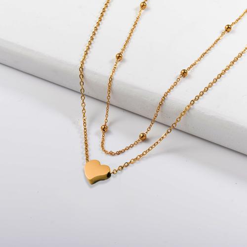 Collar de capas de oro en forma de corazón de moda