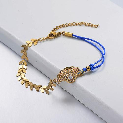 Cadena de eslabones de espina de pescado chapada en oro Diamante Pandent Pulsera de hilo de cuero azul