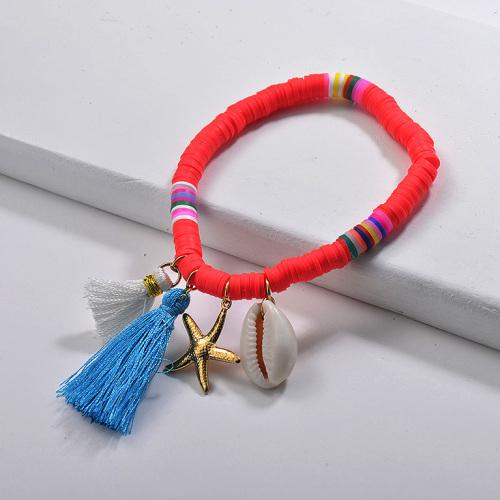 Bracelets en caoutchouc Nature Shell Acier inoxydable Starfish Charm Glands Bijoux