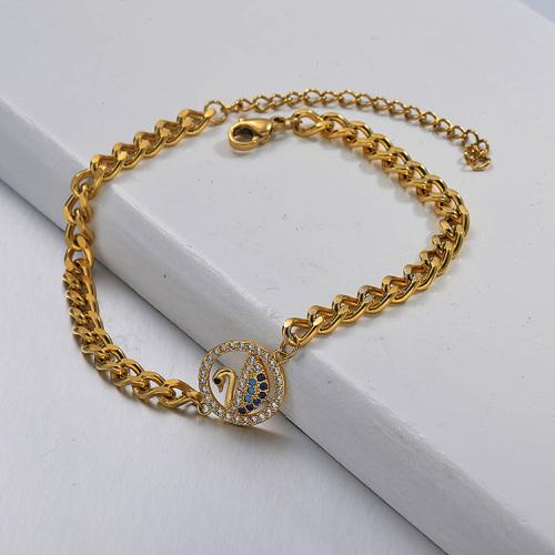 Pulsera de cadena de eslabones cubanos con colgante de cisne de diamantes