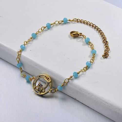 Brazalete de cadena de cuentas azules con colgante de animal