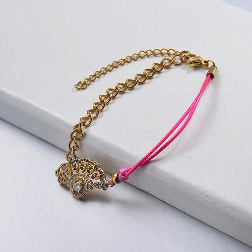 Colgante de diamantes chapado en oro Pulsera de hilo de cuero rosa