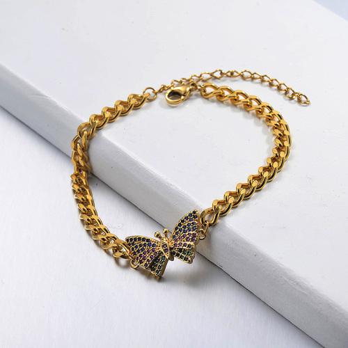 Colourful Diamond Butterfly Pendant Cuban Link Chain Bracelet