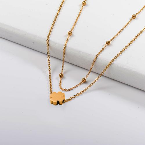 Collar de capas de oro de trébol de cuatro hojas de moda