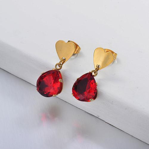 Joyas chapadas en oro Pendientes de corazón de rubícon de acero inoxidable
