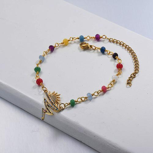Diamond Copper Sun Pendant  ColourFul Beads Chain Bracelet Instagram Style